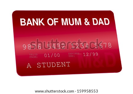 Bank of Mum and Dad Credit Card Family Finances - stock photo