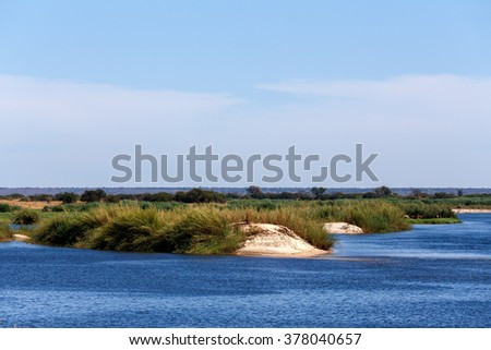 bank of the Zambezi river - fourth-longest river in Africa, Caprivi region, Namibia - stock photo