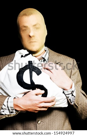 Bank robber disguised in a stocking mask clutches a large bag full of dollars as he makes a getaway after becoming an instant millionaire - stock photo