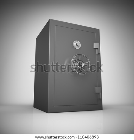 Bank safe in light with reflection - stock photo