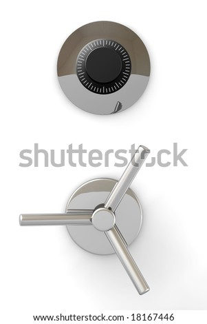Bank safe mechanism isolated over a white background. - stock photo