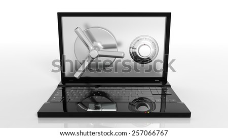 Bank safe on laptop screen isolated on white - stock photo