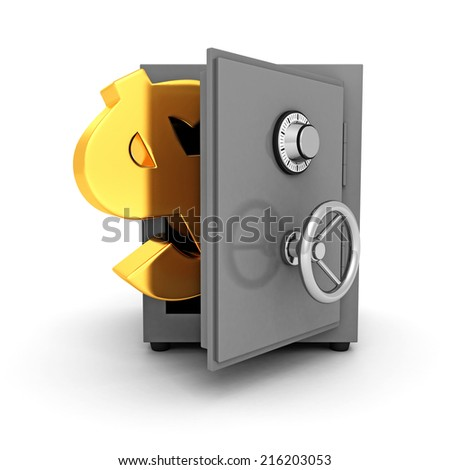 bank safe with golden dollar symbol on white background. 3d render illustration - stock photo