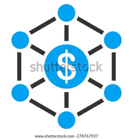 Bank scheme icon from Business Bicolor Set. This isolated flat symbol uses modern corporation light blue and gray colors. - stock photo