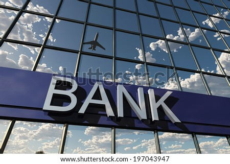 bank sign on a building - stock photo