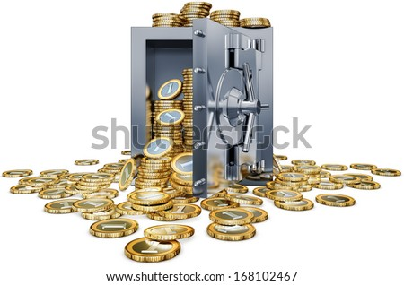 bank vault and coins - stock photo