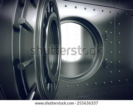 Bank Vault Door - stock photo