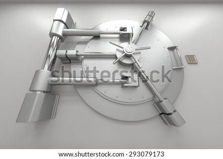 Bank vault door. Closed safe. Safety, insurance and security of savings and investments concept. Protection against robbery and breaking in. - stock photo