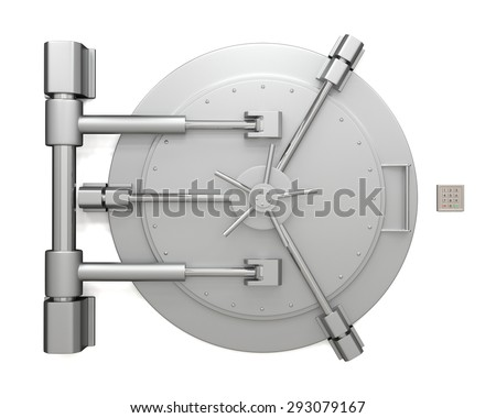 Bank vault door isolated on white background. Closed safe. Safety, insurance and security of savings and investments concept. Protection against robbery and breaking in. - stock photo
