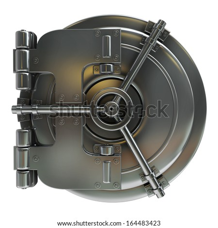bank vault door isolated on white background High resolution 3d  - stock photo
