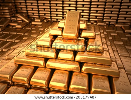 Bank vault filled with gold bullion. Finance illustration - stock photo