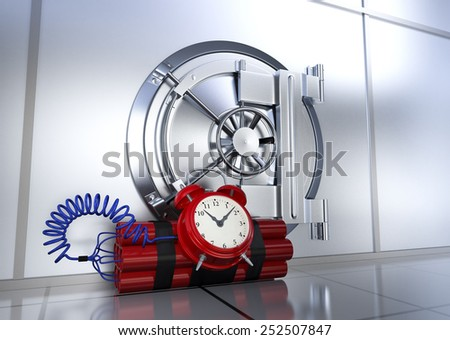 bank vault with a bomb, concept of safety or risk (3d render) - stock photo