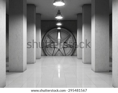 Bank vault with metal door - stock photo