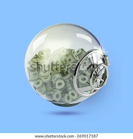 bank vault with money on a blue background - stock photo