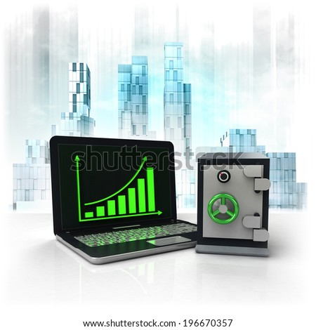 bank vault with positive online results in business district illustration - stock photo