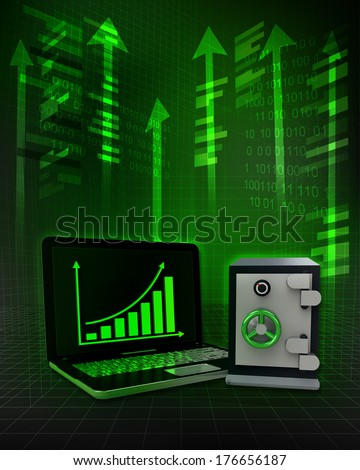 bank vault with positive online results in business illustration - stock photo