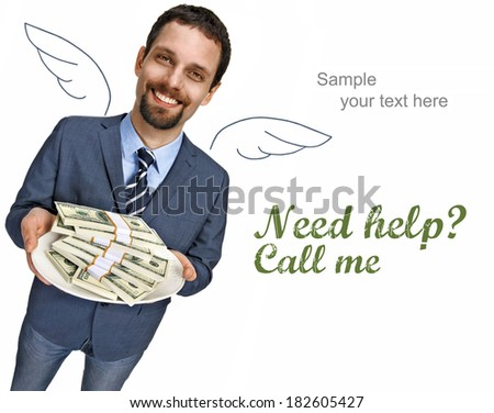 Banker with angel wings / happy smiling young businessman in a suit jacket offering stacks of dollar bills for shopping - isolated on white background with copy space  - stock photo