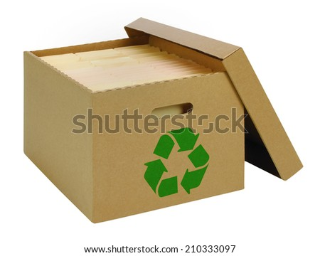 Bankers Box with recycling symbol - stock photo