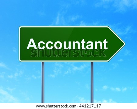 Banking concept: Accountant on green road highway sign, clear blue sky background, 3D rendering - stock photo