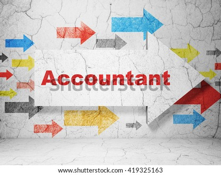 Banking concept:  arrow with Accountant on grunge textured concrete wall background, 3D rendering - stock photo