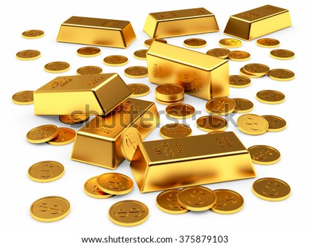 Banking concept. Golden bars and coins isolated on a white background - stock photo