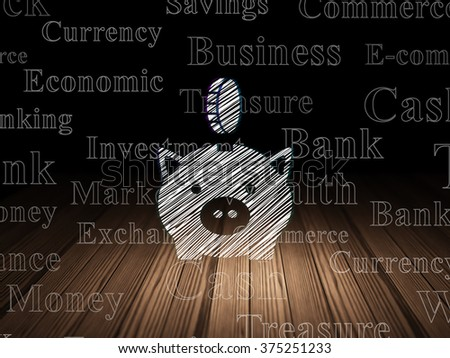 Banking concept: Money Box With Coin in grunge dark room - stock photo
