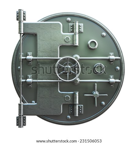 Banking metallic door, vault isolated on white background. High resolution 3d - stock photo