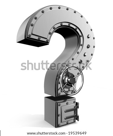 Banking safe from  question mark - stock photo