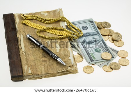 Banknote , Gold and coins with memories on white background. - stock photo