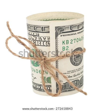 Banknote hundred dollars, tied with a rope with a bow - stock photo