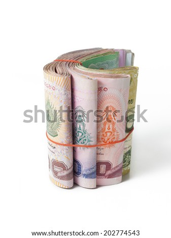 banknote of thailand there are twenty, fifty, hundred and thousand - stock photo