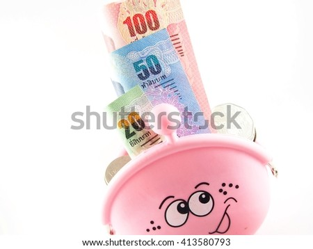 Banknotes collection, baht thai money in pink purse, isolated on white background  - stock photo