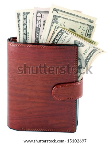 Banknotes dollars in leather brown purse isolated on white - stock photo