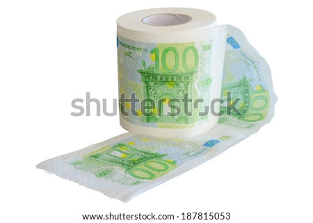 Banknotes 100 Euro printed on the toilet paper roll isolate on white - stock photo