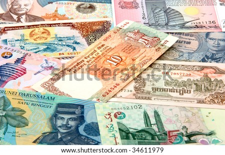 Banknotes from different countries in Asia - stock photo