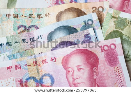 Banknotes of chinese currency as background - stock photo
