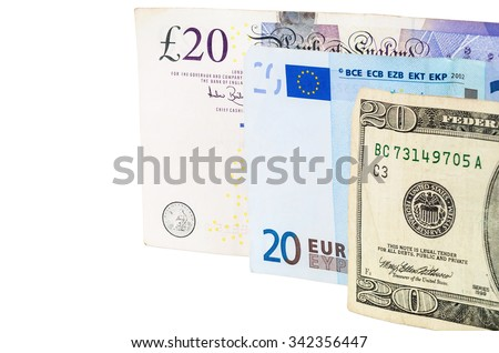Banknotes of 20 pounds euro and dollars isolated on white background with clipping path - stock photo