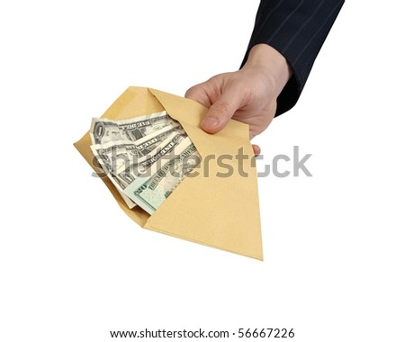 Banknotes offered in Envelope [with Clipping Path and isolated on white background] Closeup of businessman's hand holding out an envelope full of money towards you. - stock photo