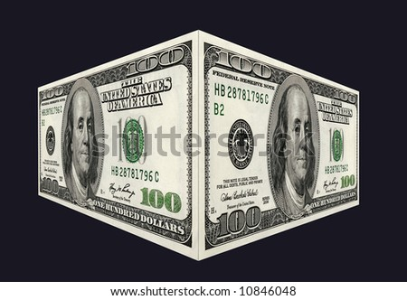 Banknotes 100$ on black background, sharpness for all  field - stock photo