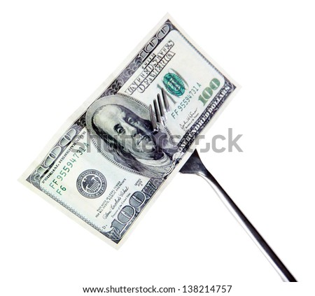 Banknotes on fork isolated on white - stock photo
