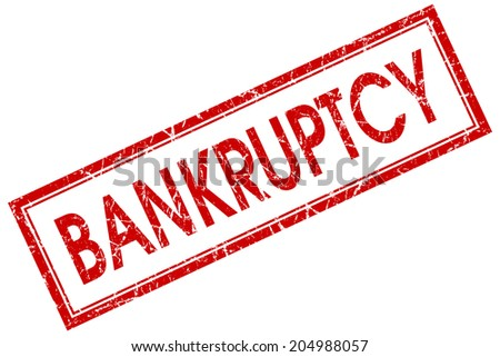 Bankruptcy red square grungy stamp isolated on white background - stock photo