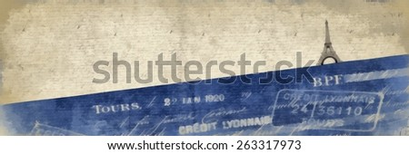 Banner background painting with a Paris motif. - stock photo