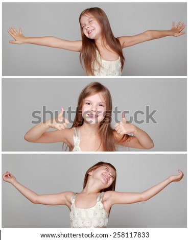 Banner collage of joyful emotional little girl with long hair jumping and dancing on a gray background - stock photo