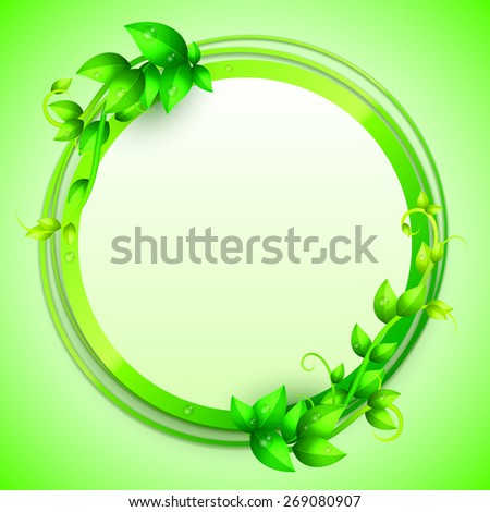 Banner decorated with fresh green leaves and branches - stock photo