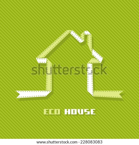 Banner eco house made from green ribbon. Icon of real estate. Sign for business card of realtor agency. Illustration with silhouette of cottage for print, web - stock photo