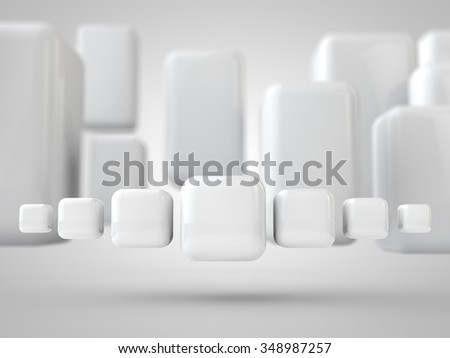 Banner of curved 3d-cubes - stock photo