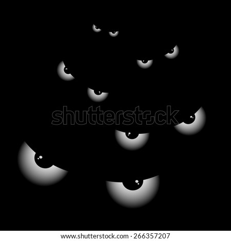Banner with big eyes at night - stock photo