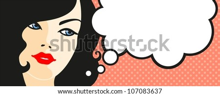 Banner with female face and thinking bubble (raster version) - stock photo