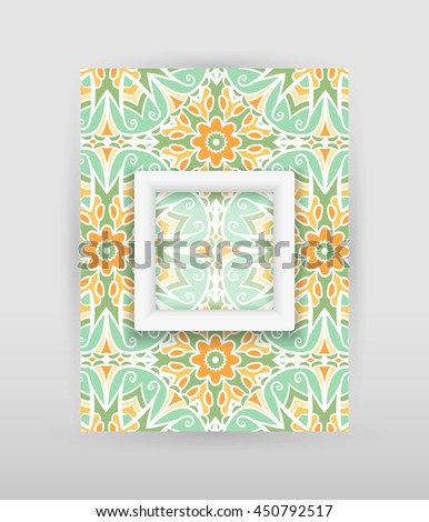 Banner with floral pattern and transparent square with white frame. Raster version - stock photo