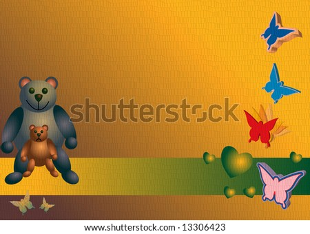 Banner with teddy bears - stock photo